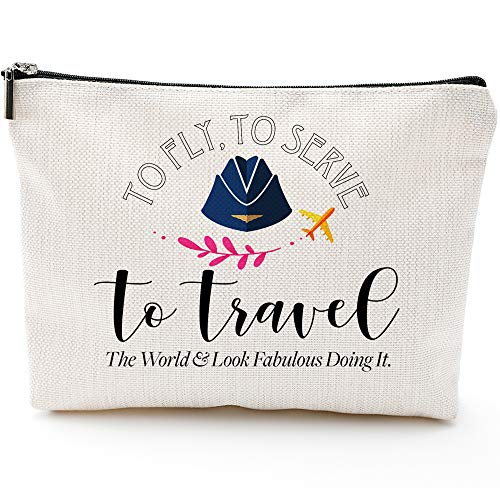 Flight Attendant Gifts for Women-to Fly to Serve to Travel-- Makeup Travel Case,Makeup Bag Gifts