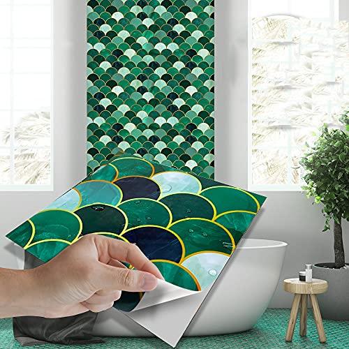 azulejos adhesivos cocina,10 piezas de pegatinas de baldosas de baño de escamas de pescado estampadas en caliente, pegatinas de baldosas autoadhesivas decorativas impermeables de PVC para lavabos