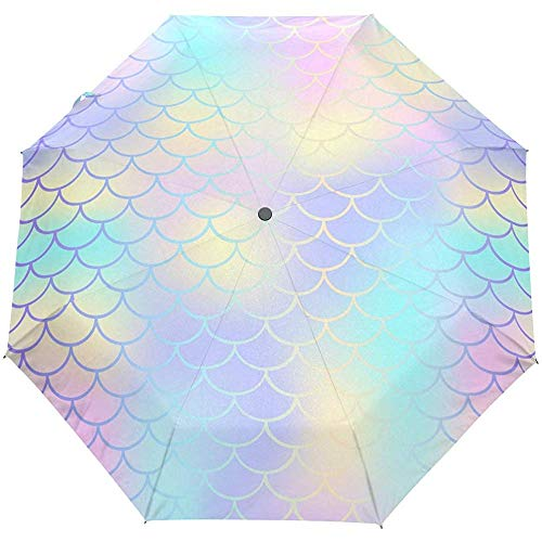 Coda Arcobaleno Oceano Mare Moire Zeemeerminstaart paraplu, automatische paraplu, compact opvouwbaar, UV-bescherming