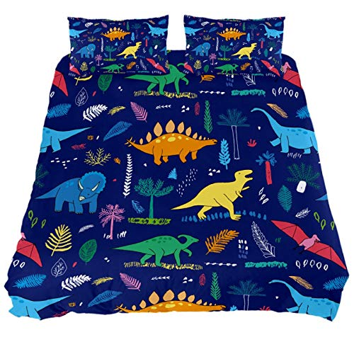 ASIGA Colo Dinosaurs Double Duvet Cover Set 3 Pieces Bedding Set for Women Men,Bedroom Bed Linen