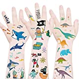 Mocossmy Shark+Pirate+Dinosaur Temporary Tattoos for Kids, Waterproof Body Stickers Ocean Adventure Nautical,Fake T-rex Tattoo Decorations,Birthday Party Favor Supplies Decor for Boy Girls
