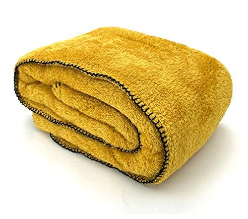 heimtexland ® Kuscheldecke Langfloor Teddy Fleece XL 200x150 Ökotex Plüsch Decke Super Soft Safran Gelb Typ716