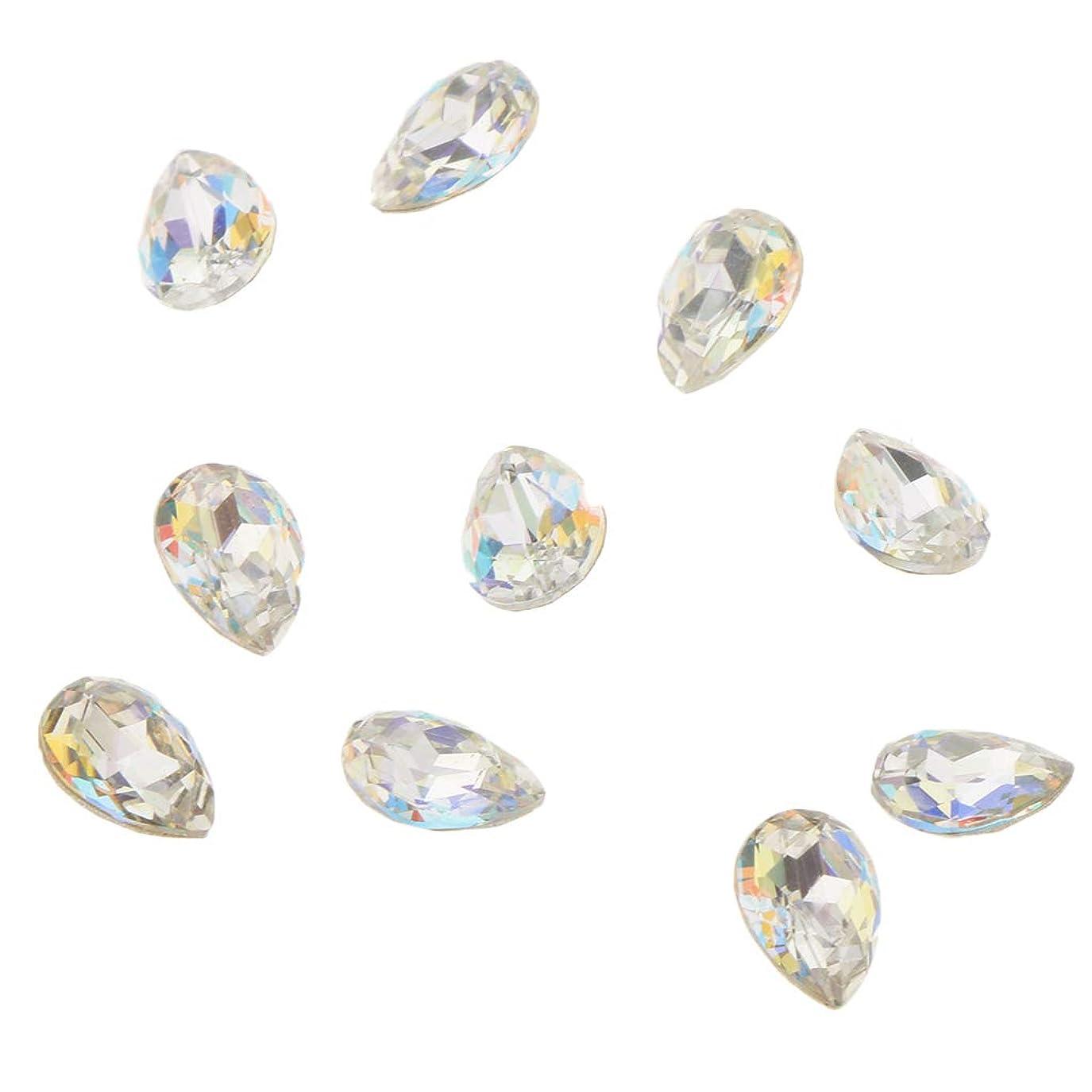 海里純度テンポKESOTO 10個 ネイルアート 3D ネイルチャーム ガラス ダイヤモンドチップ 装飾 美しい爪 魅力 5タイプ選べ - D
