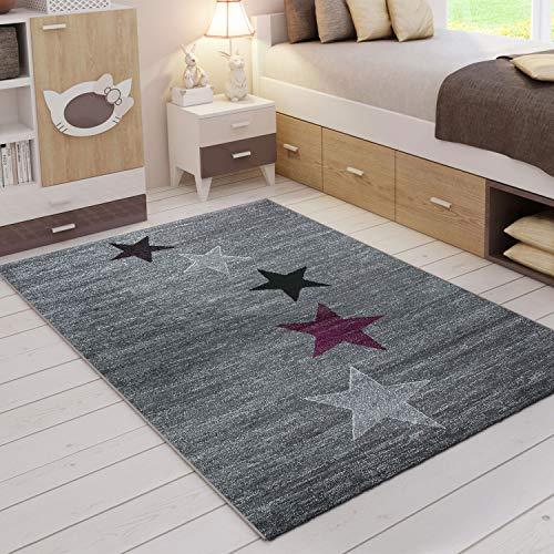 VIMODA Teppich Modern Design Grau Lila Schwarz Weiß Jugendzimmer Kurzflor Stern Muster, Maße:120x170 cm