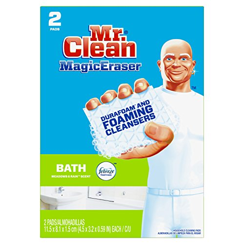 Mr. Clean Magic Eraser Bath, Cleaning Pads with Durafoam, Meadows & Rain, 2 Count (Packaging May Vary)