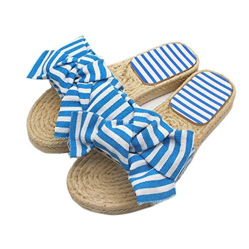 LJJYF Zapatos de Playa de baño,Zapatillas de Verano de Mujer Bowknot de Moda Sandalias Tejidas de Hierba a Rayas y zapatillas-blue-EU38