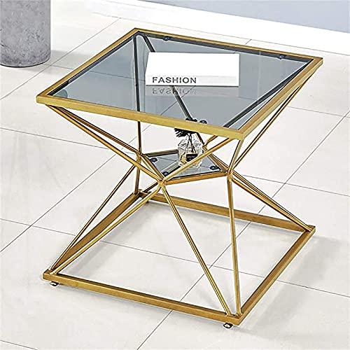 Tabla Lateral Alta Mesa de Mesa de Mesa de Mesa de Mesa de Mesa de Mesa Delgada Mesa de café con Marco de Metal metálico (Color : Gold)