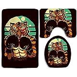If Not Alfombras de baño Alfombrillas Set 3 Piezas Alfombras de baño de Ducha Extra Suaves Cool Funny King Tiger Boxing