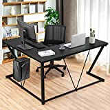 L Shaped Desk Home Office Desk, Bonzy Home Computer Desk Space-Saving, Easy to Assemble Gaming Table, Black