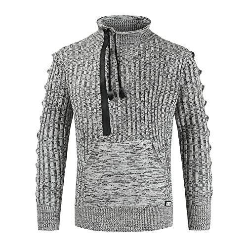 Suéter para Hombre, Jersey para otoño e Invierno, con cordón, Cuello Enrollado, Color a Juego al Aire Libre con Bolsillo, Talla Grande XXL