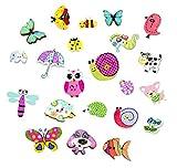 None/Brand CYJZHEU Bottoni Animali Legno, 100 Pezzi Bottoni Colorati Bambini Bottoni in Legno Decorativi per Cucito Fai-da-Te Progetto Fatto a Mano Pittura Manuale di Bottoni, 12-35 mm