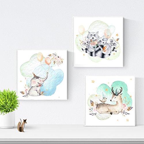 Nacnic Set van 3 messen voor het inlijsten van Elephant, Fawn en wasberen Posters voor kinderkamers. Aquarel en pastel Style