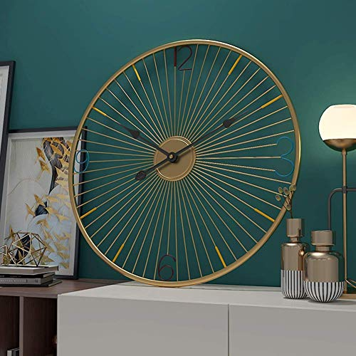 Klok, Antieke Round Wheel Wall Clock Niet Ticking Wheel wandklokken for Room Slaapkamer Kantoor Bar Modern Decor alarm clock