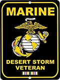 Yilooom Decorative Sign, United States Marine Corps Desert Storm Veteran Military Metal Sign Aluminum Tin Sign Wall Decor 12 X 18 Inch