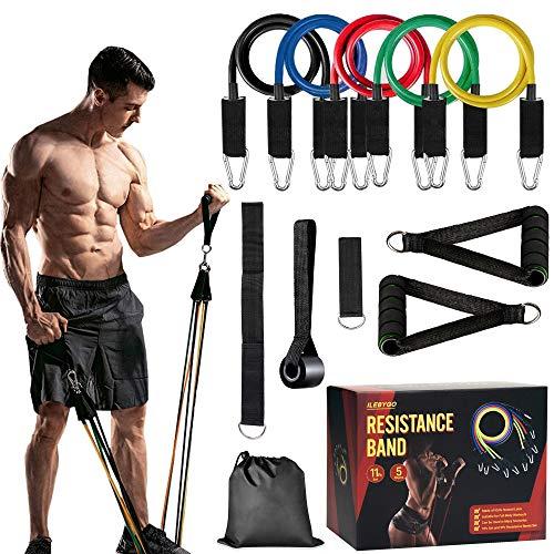 ILEBYGO Resistance Bands, 11er Pack Widerstandsbänder Krafttraining Set für Drinnen/draußen Trainieren, 5 Premium Trainingsbänder Fitnessbänder Set für Yoga, Physiotherapie, Pilates für Männer/Frauen