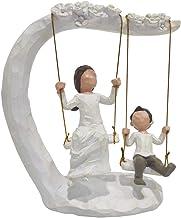 JSYS الأم والابن منحوت أشكال مرسومة باليد ، هدايا لطيفة للأم أو الابن، منحوتات أرجوحة عائلية دافئة 20.32 سم
