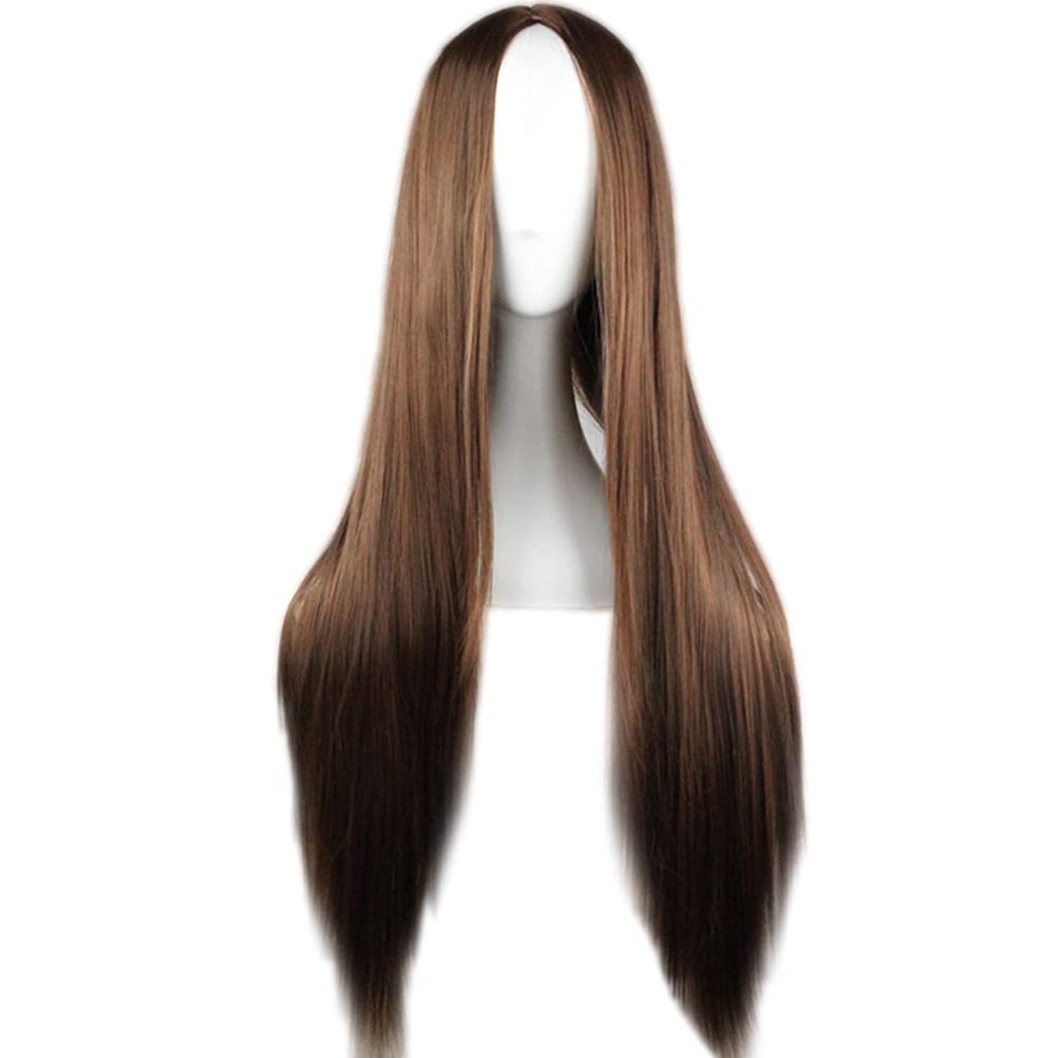 top0dream Synthetic for Wigs Fashion Women Solid Color Central Parting Long Straight Wig Cosplay Hairpiece Synthetic Loose Curly Front Wig for Women Natural Heat Resistant Hair- Dark Brown