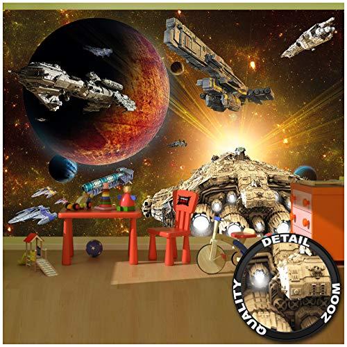 GREAT ART Mural De Pared Cuarto De Los Niños – Galaxy Aventura – Espacio Misión Lanzadera Volante Ciencia Ficción Spacecraft Estrellas Foto Y Tapiz Y Decoración (336 x 238 cm)