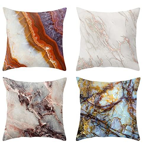Funda de almohada con estampado de mármol colorido, funda de almohada para sofá, 4 fundas de cojín cuadradas de tela suave resistente a las manchas (45 x 45 cm)