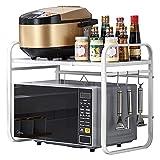 LTLJX Soporte de Estante para Microondas Estante de Metal para Horno de Microondas Estante de Cocina Ajustable de Una Sola Capa y Organizador con,White-Carbonsteel
