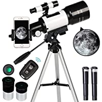ToyerBee 70mm Aperture Refractor Telescopes (15X-150X) with Phone Adapter & Wireless Remote
