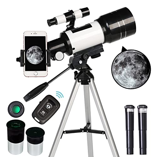 ToyerBee Telescope for Adults & Kids, 70mm Aperture Refractor Telescopes (15X-150X) for Astronomy Beginners, Portable Travel Telescope with Phone Adapter & Wireless Remote, Astronomy Gifts for Kids