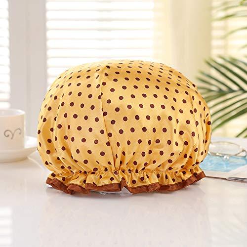 Aututer 5 pcs Double Couche Satin Bonnet de Douche Petit Point EVA imperméable à l'eau épaisse Dentelle Satin Tissu Adulte Bonnet de Douche