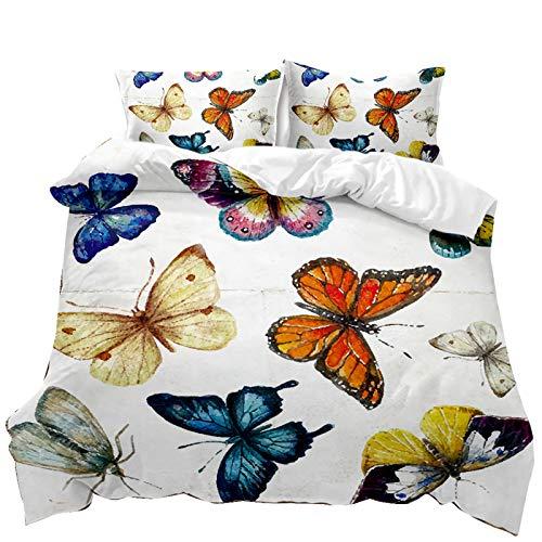 Funda Nórdica Suave, Juego de Cama 3D Mariposas de Colores con Estampado con Cierre de Cremallera,Microfibra (Mariposa 6, Cama 105 - 180×220)