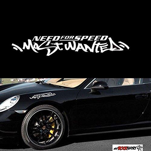 myrockshirt Need for Speed Most Wanted 30 cm Aufkleber für Scheibe, Lack, Hochleistungsfolie, UV& Waschanlagenfest`+ Bonus Testaufkleber Estrellina-Glückstern, waschanlagenfest