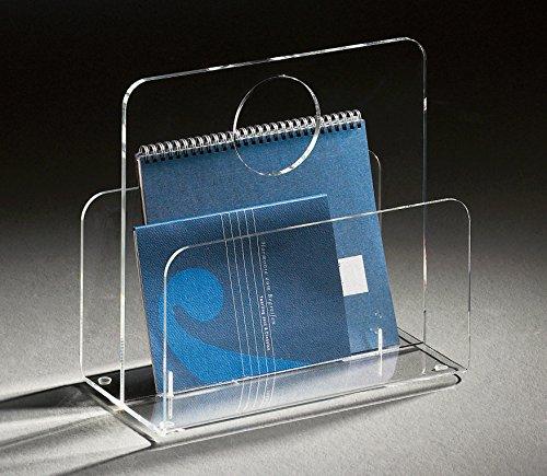 HOWE-Deko Hochwertige Acryl-Glas Zeitungstasche, Zeitungsständer, klar, 33 x 18 cm, H 31 cm, Acryl-Glas-Stärke 5/8 mm