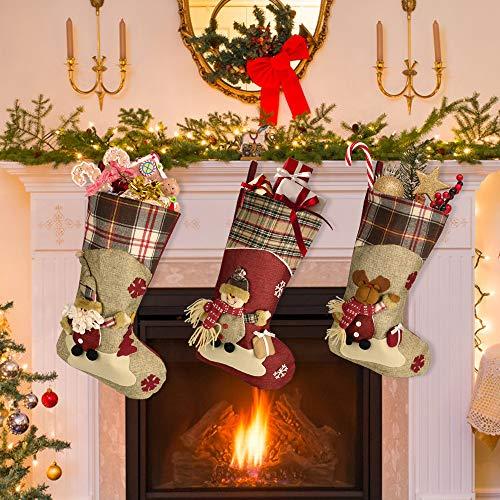 KBNIAN 3 Pack Weihnachtsstrumpf Weihnachtssocken Weihnachtsgeschenktasche Weihnachten Hängende Strümpfe für Kamin, Schaufenster, Weihnachtsdekoration, Weihnachtsbaum (46 * 26,5 * 22,5 cm)