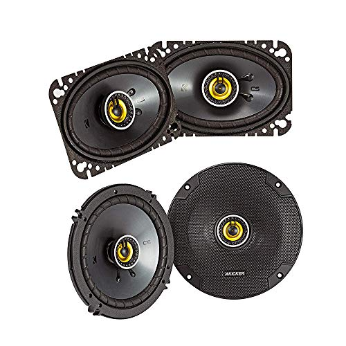 Kicker CS Series CSC46 50 Watt 4 x 6 Inch Dual Speakers Bundle with CSC65 100 Watt 6.5 Inch 2 Way Car Audio System Dual Coaxial Speakers with Woofers