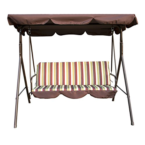 Outdoor Patio Swing Chair 3 Person Porch Cushion with Stand Glider Hammock Bench with Canopy Seating Backyard Furniture Steel Frame