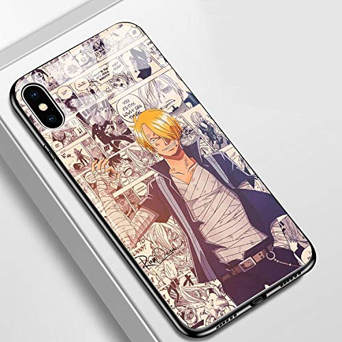 Funda de Cristal Templado para iPhone 6, 6S, 7, 8 Plus, X, XR, XS y XS MAX One Piece Luffy Sabo Manga Cover-Photo_Color_12