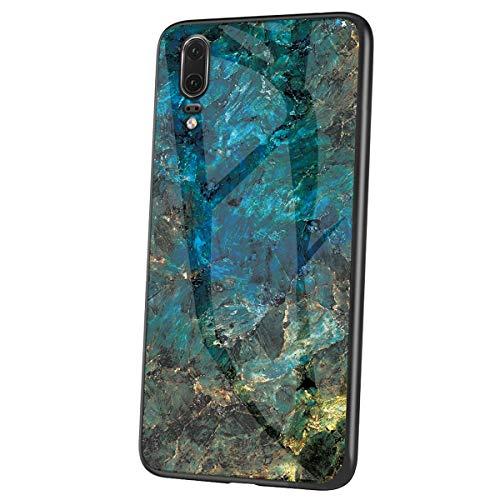 Herbests Kompatibel mit Huawei P20 Hülle Gehärtetes Glas Rückseite + Silikon Bumper Handyhülle Marmor Muster Kratzfeste Hardcase Schutzhülle Stoßfest Hybrid Hülle,Grün