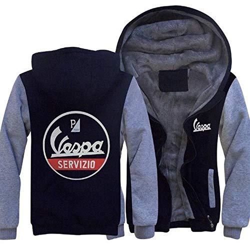 SUSU Vespa Pullover Jacke- Teen Beiläufige Winter-mit Kapuze Warm Zip Langarm-Sweatshirt D-XXL