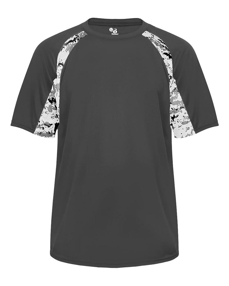 天のシンポジウム幸運な脇/袖デジタルカモフラージュパネル アスレチックスポーツ 吸湿速乾機能シャツ/ ジャージ ( 全18色 半袖と長袖 青少年と成人サイズ) カスタマイズ可