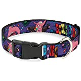 Buckle Down Bing Bong Poses/Candy Purples/Multi Color Plastic Clip Collar, Narrow Small/6-9
