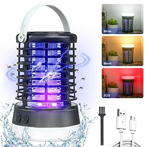 AMBOTHER Lampe Anti Moustique Electronique UV LED 2000V Efficace 60m² Répulsif Moustique Tueur Etanche IP66 Pièges à Insectes 3 Modes USB Rechargeable 2 en 1 Lanterne Camping Intérieur Extérieur Noir