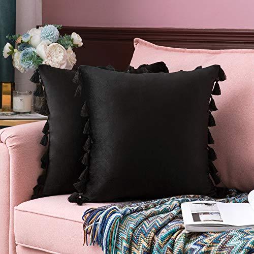 MIULEE 2er Set Samt Kissenbezug Quaste Kissenhülle Dekorative Tassel Dekokissen mit Verstecktem Reißverschluss Sofa Schlafzimmer 18 x 18 Inch 45 x 45 cm Schwarz