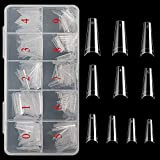 Vcedas Fake Nail Coffin Shape Long 500PCS Clear Tips for Acrylic Nails French Lady 10 Sizes Half Cover False Nail Art Tips Artificial for DIY Nail Salon