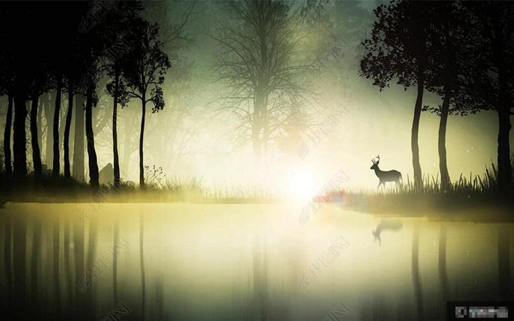 Seasonal Wrap Introduction Year-end gift Wall Murals Wallpaper Night Wallcovering Lake Mural Forest