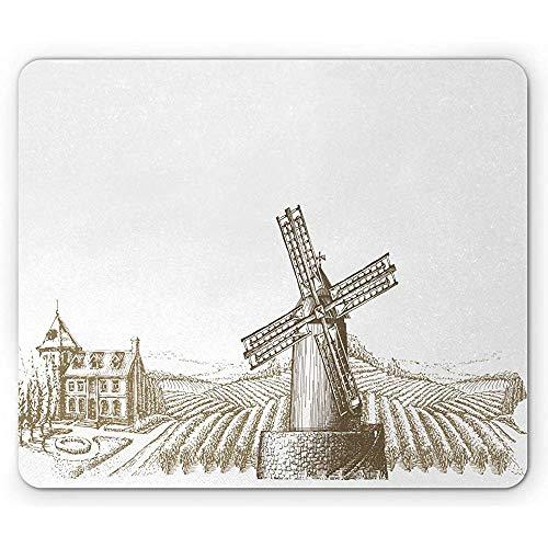 Oogstmuismat, oude molen in vintage stijl kunst en dorpshuis met tuin, anti-slip rubber, 25x30cm wit en Sepia