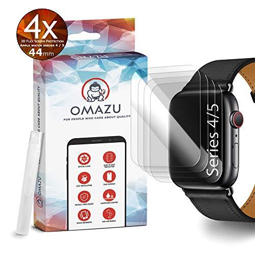 OMAZU 3D Flex TPU Schutzfolie [4 Stück] für Apple Watch Series 4-5 (44mm) - Volle Abdeckung - Anti Kratzer Displayschutz - Panzerfolie - Kompatibel mit Hülle - Blasenfreie - HD Premium transparant