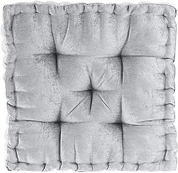 Intelligent Design Azza Floor Square Pouf Chenille Tufted Pillow
