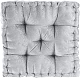 Intelligent Design Azza Floor Pillow Square Pouf Chenille Tufted with Scalloped Edge Design Hypoallergenic Bench/Chair Cushion, 1 Count (Pack of 1), Grey