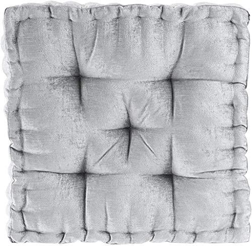 "Intelligent Design Azza Poly Chenille Square Floor Pillow Cushion, 20""x20""x5"", Grey"