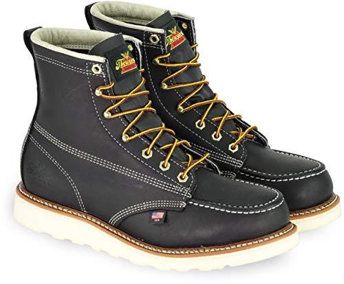 Thorogood 804-6201 Men's American Heritage 6' Moc Toe, MAXwear Wedge Safety Boot, Black - 12 2E US