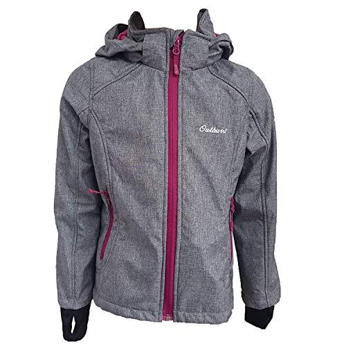 Outburst - Mädchen Softshelljacke Regenjacke Winddicht und Wasserdicht, grau - 8419604, Größe 98