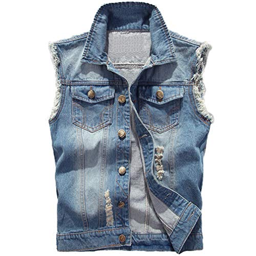 Saukiee Men's Casual Lapel Denim Vest Jacket Vintage Slim Fit Sleeveless Ripped Jeans Vests